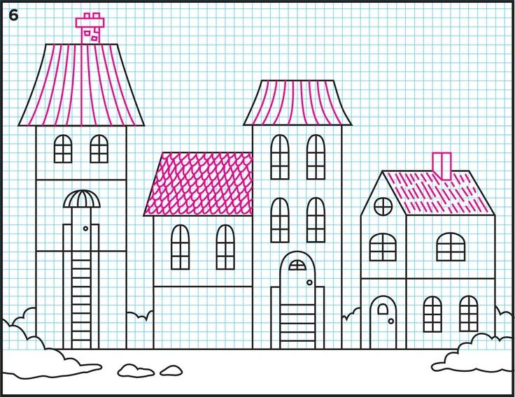 рисунок с домами 6 класс зелени