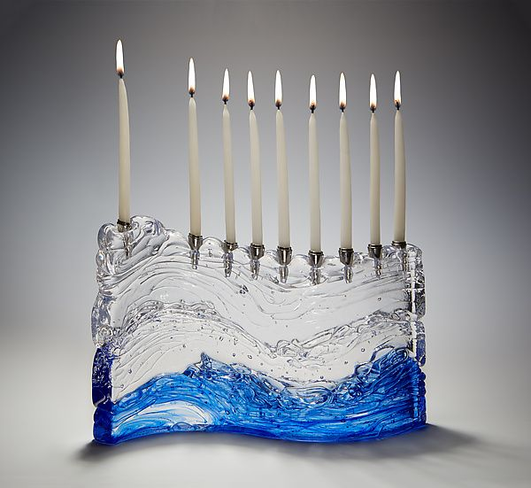 Bermuda Wave Menorah by Joel and Candace Bless: Art Glass Menorah available at www.artfulhome.com