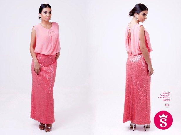 312 - Vestido Longo Rosa de Paetê