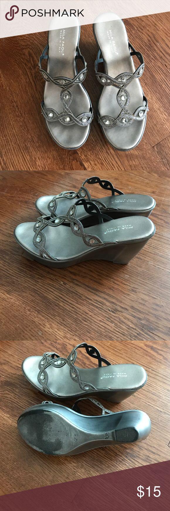 Elegant wedge sandal Beautiful silver wedge sandals with rhinestones. mila paoli Shoes Wedges
