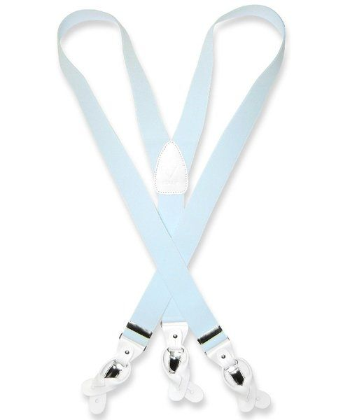 Men's Solid LIGHT BLUE SUSPENDERS Y Shape Back Elastic Button & Clip Convertible