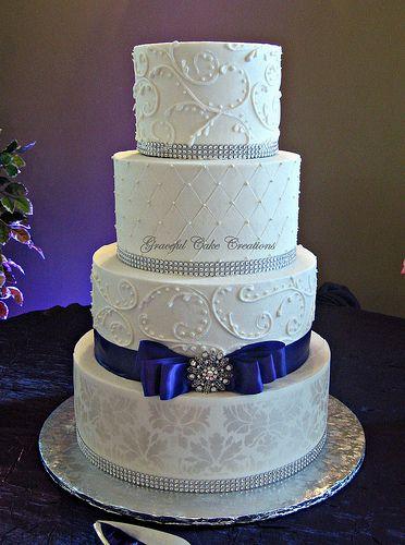 Elegant White Damask Wedding Cake