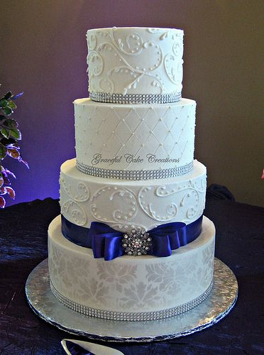 Elegant White Damask Wedding Cake