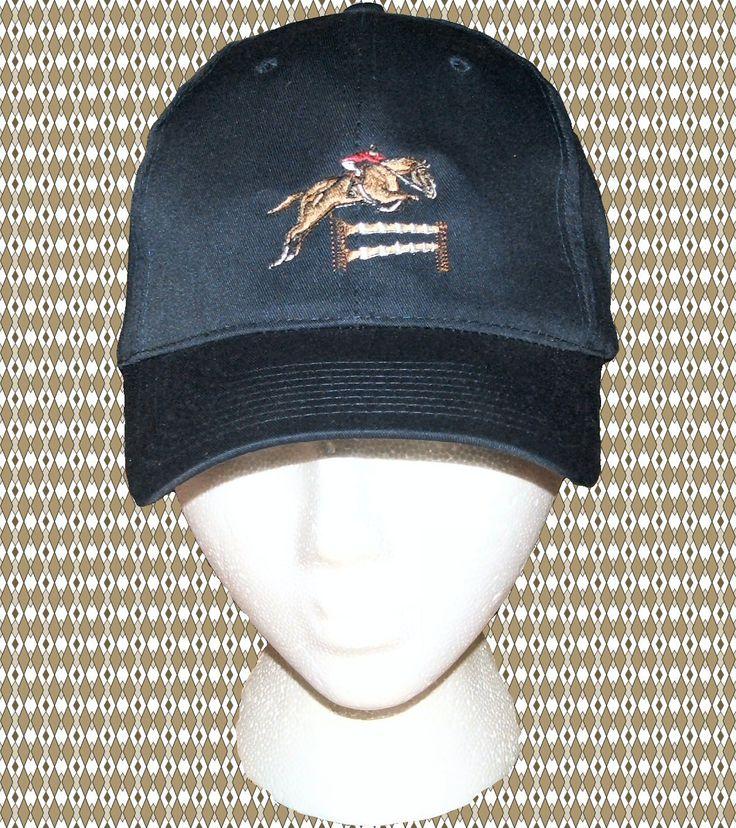 Equestrian+Jumper+Horse+Embroidery+Cotton+Twill+Cap