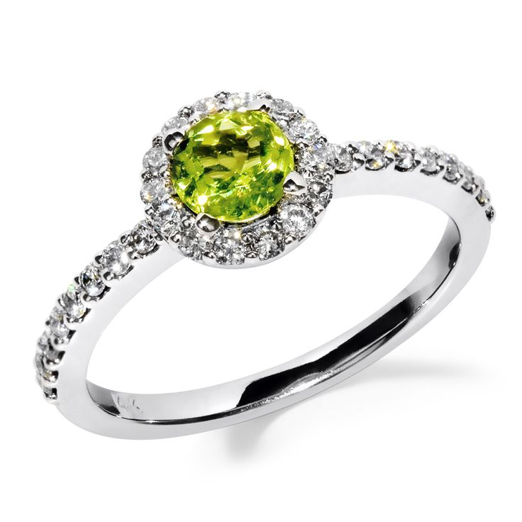 Jewelers Enterprise Round Cut Peridot And Diamond Halo Engagement Ring 937 99 Http