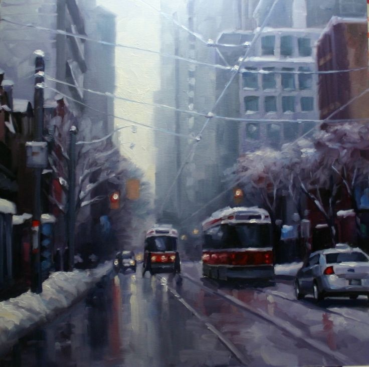 Two Toronto Streetcars meet on Queen Street after a snow storm. catherinejeffreystudio.com https://www.facebook.com/cjeffreystudio