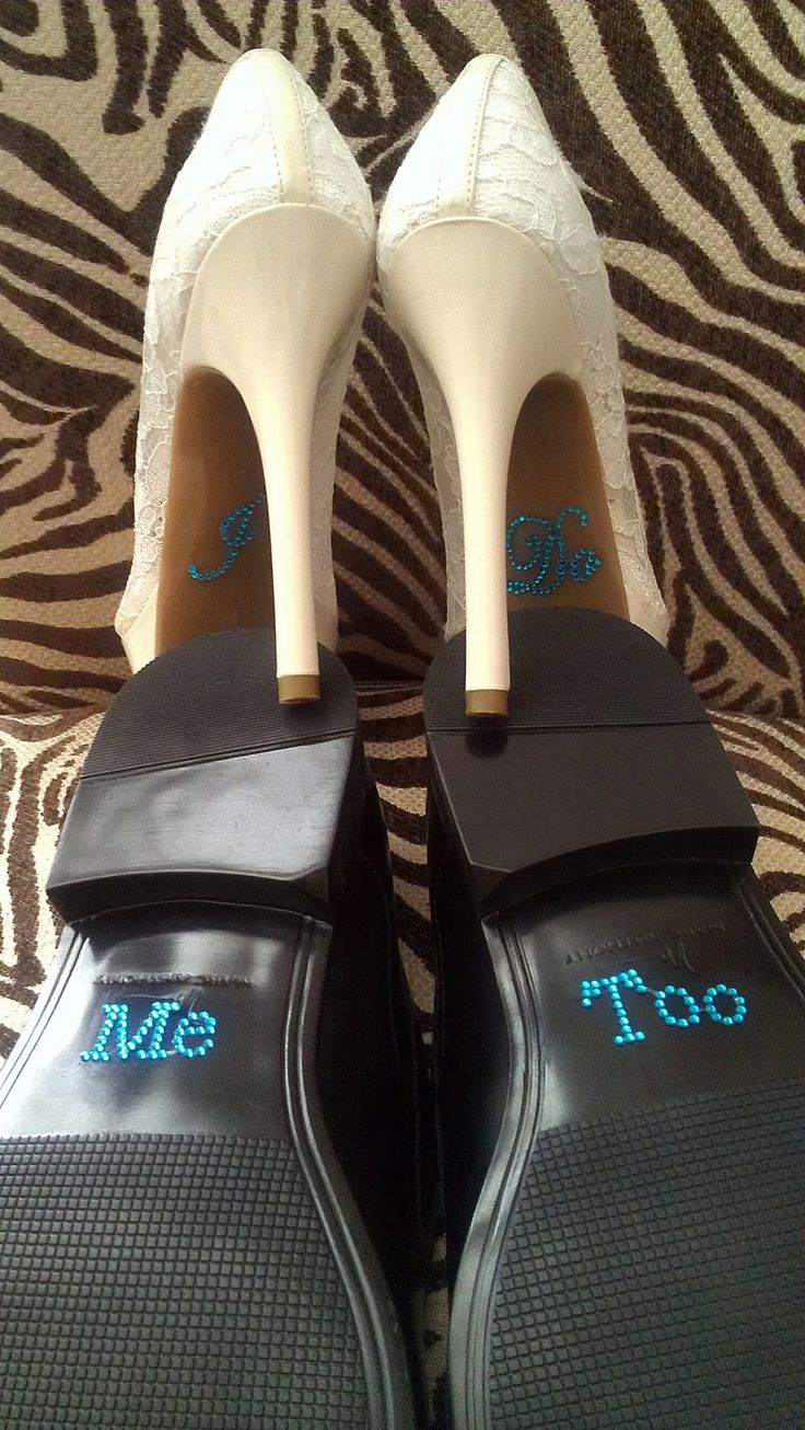 I Do and Me Too Shoe Stickers Clear / Blue Rhinestone Wedding Shoe Appliques - Rhinestone Shoe Decals for your Bridal Shoes Something Blue. $9.00, via Etsy.