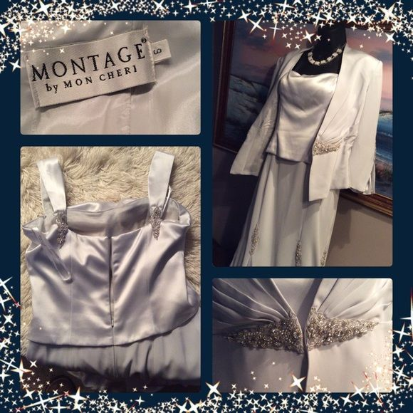 💞MONTAGE by MON CHERI💞silver maxi formal dress Very glamorous and elegant , beautiful, maxi dresses with matching blazer, decorated with beautiful beads, fully lined, worn just one time💞 Montage by Mon Cheri Dresses Prom