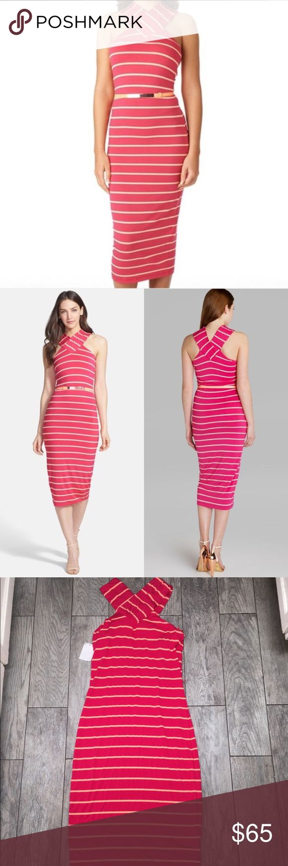 "Ted Baker canna crossover neck striped pink dress Ted Baker canna crossover neck striped pink dress. Sleeveless halter midi dress. Stretchy, form fitting look. 49"" length. Size 4. NWT- no flaws. Belt not included. Ted Baker Dresses Midi"