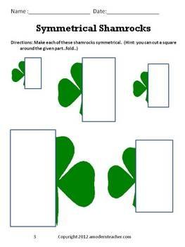 St Patrick S Day Congruent Symmetrical Shamrocks Free Printable