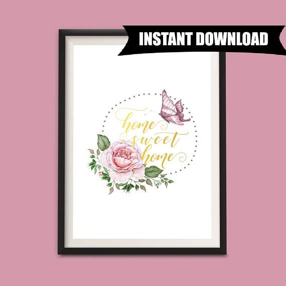 Home Sweet Home, Hallway Art, Entry Way Decor, Instant Download Printable Art, Home Decor, Wall Hanging, Downloadable A4 Art Print (P7)