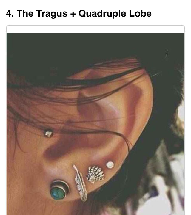 The tragas earring and three lobe piercings.