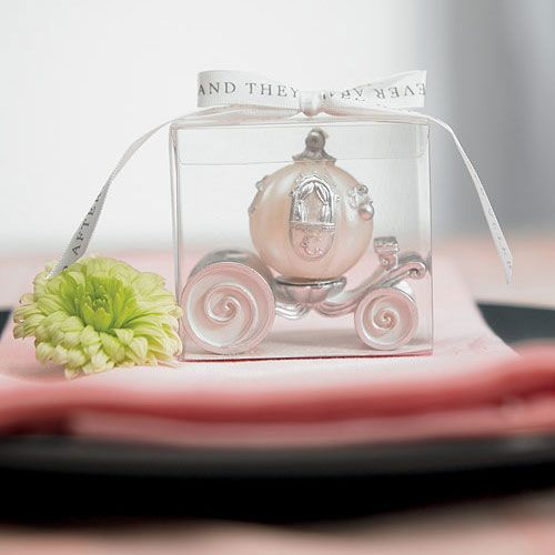 cinderella-wedding-carriage-candle-in-clear-box-displayed-on-a-plate
