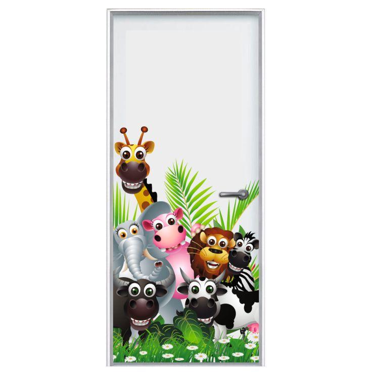 Deursticker Jungle | Een deursticker is precies wat zo'n saaie deur nodig heeft! YouPri biedt deurstickers zowel mat als glanzend aan en ze zijn allemaal weerbestendig! Verkrijgbaar in verschillende afmetingen.   #deurstickers #deursticker #sticker #stickers #interieur #interieurprint #interieurdesign #foto #afbeelding #design #diy #weerbestendig #jungle #cartoon #kinderen #kind #kinderkamer #giraf #olifant #leeuw #koe