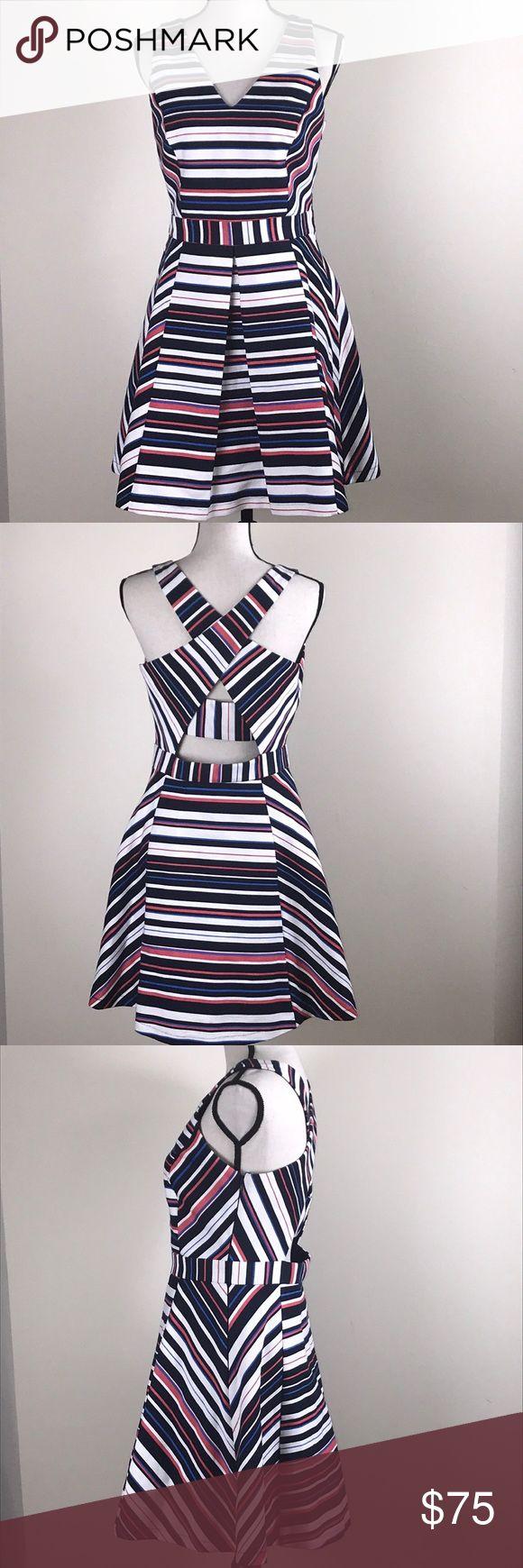Anthropologie Adelyn Rae Dress Anthropologie Adelyn Rae Treena V-Neck Dress Navy Dry Clean Only Navy Blue, White, Salmon & Blue Anthropologie Dresses