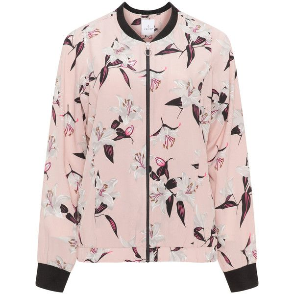 Zhenzi Pink / Multicolour Plus Size Printed bomber jacket ($52) ❤ liked on Polyvore featuring outerwear, jackets, pink, plus size, pink jacket, blouson jacket, plus size leopard jacket, style bomber jacket and long sleeve jacket
