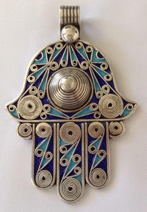 SILVER & Blue Enamel Moroccan Berber Hamsa Evil Eye Amulet Talisman PENDANT B