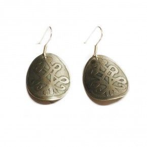 #etched #german #silver #earings . #traditional #weaving #pattern from #Metsovo #Epirus #Greece