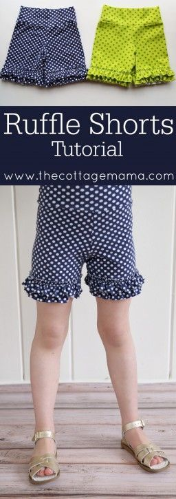 Ruffle Shorts Tutorial - The Cottage Mama. Size 12 month - Size 14. Free Sewing Pattern and Tutorial.