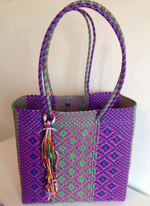 Handmade woven plastic tote bag mexican by ...