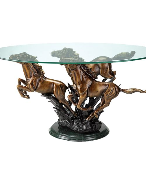 perfect for any equestrian or western home running horses end table is crafted from aluminum
