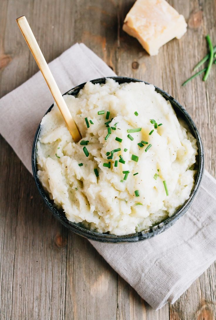 Swap cauliflower for potatoes to create a healthy mashed cauliflower side dish that tastes just like creamy mashed potatoes but with less carbs and calories.