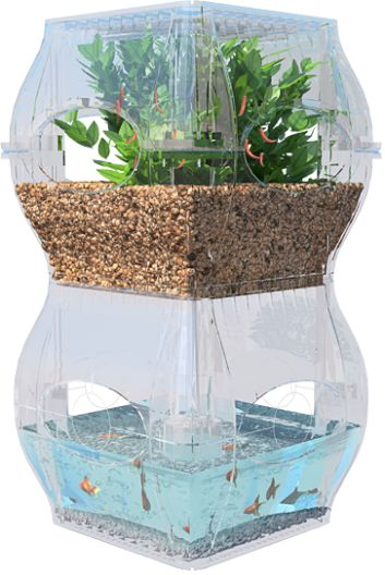 The Aqualibrium is modular (identical stackable sections hold the fish and the plants) and...