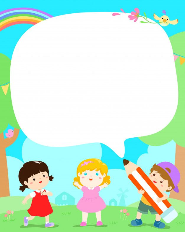 Cute Multiracial Kids Poster Vector Children In The Yard With Big Pencil Cartoon Kids Poster Kids Background Multiracial Kids