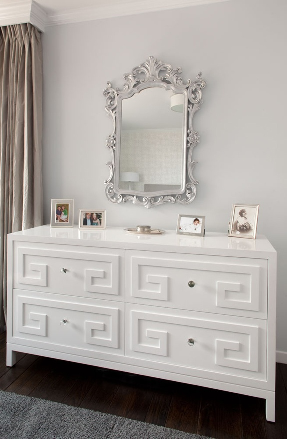 Love this! Greek key dresser in shiny white with the silver mirror