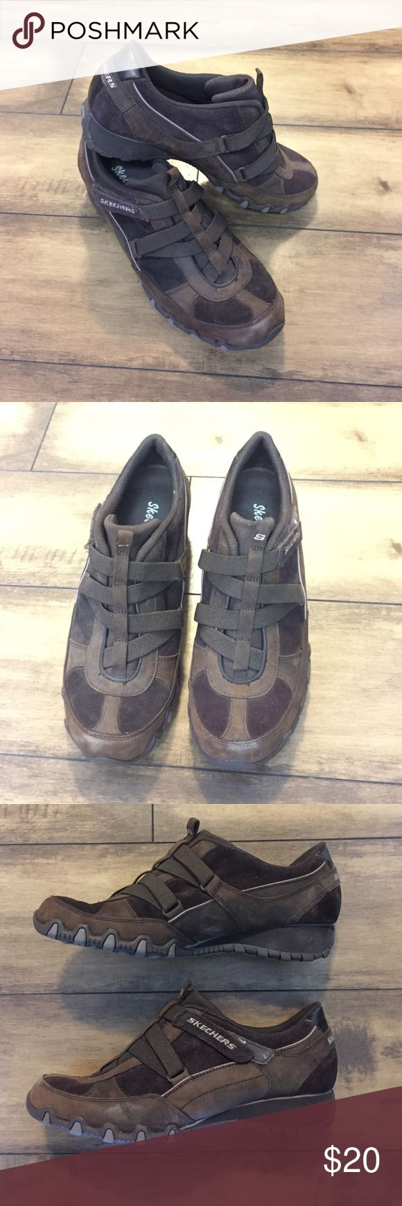 Skechers slip on shoes with Velcro closure Like new, Sketchers slip on shoe with Velcro closure. Small heel and good tread. Brown leather with a darker brown suede. Look like a Diesel shoe design. Size 8. Skechers Shoes Sneakers