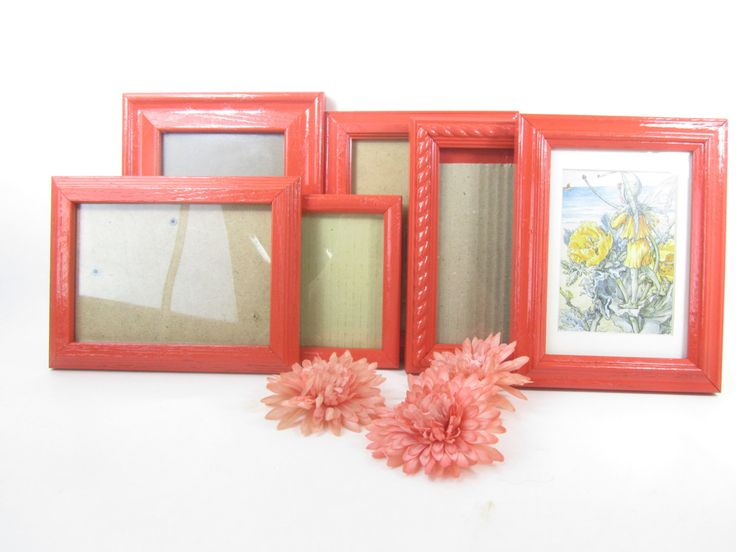 picture frame,shabby chic decor,shabby chic frame,mirror,frame set,gallery frame set,orange,wood frame,photo,picture. by KarensChicNShabby on Etsy