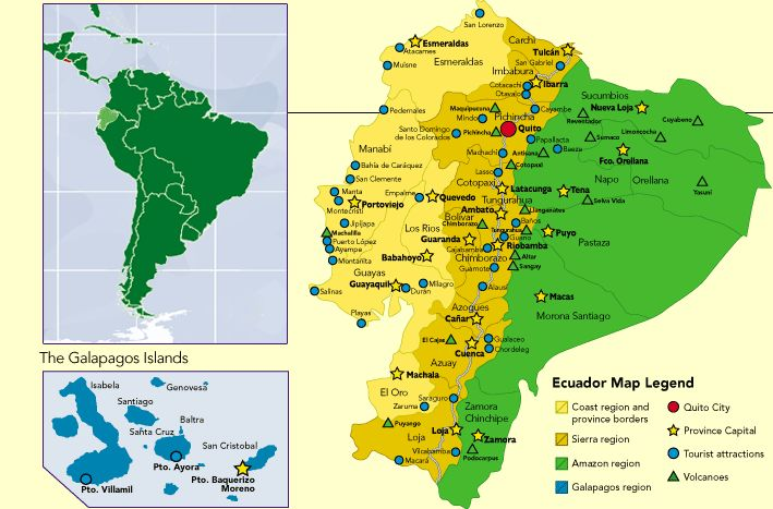 Ecuador Map | Volunteer in Ecuador | http://PhilosBooks.com