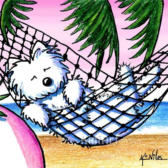 Westie Terrier Dog Art Giclée Print on Canvas Vacation by KiniArt