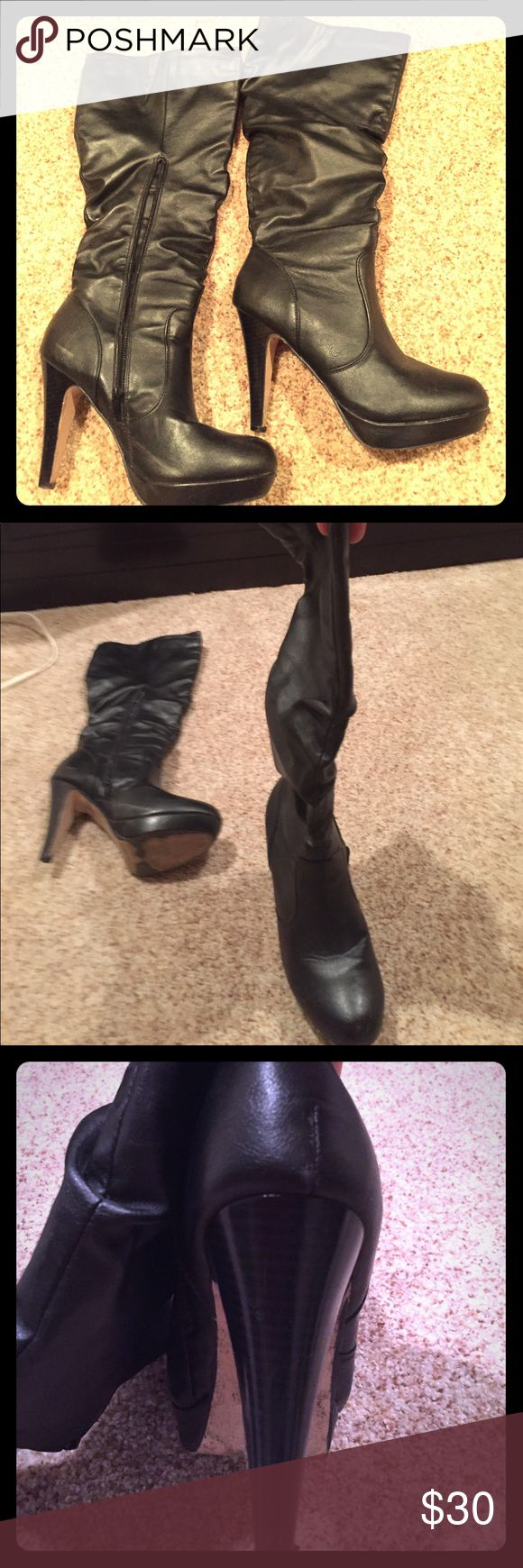 Knee high Black Boot Heals. Steve Maddens. Size 9 Knee high boots with a pump in BLACK Steve Madden Shoes Heeled Boots