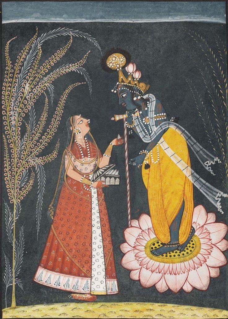 Radha offers pan to Krishna. Indian, Pahari about 1725. Object Place: Bahu-Jammu area, Punjab Hills, Northern India.