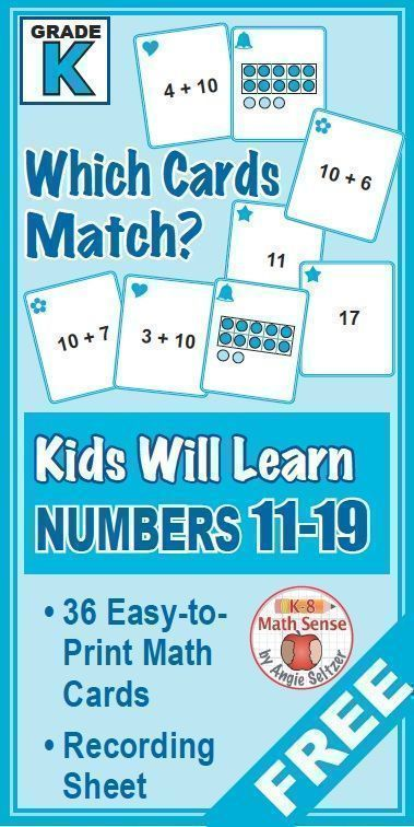 This FREE set of 36 printable cards for Kindergarten will strengthen students' understanding of numbers 11 through 19, called for by CCSS K.NBT.1. Children will match models to addition of 10 plus ones or to a number. ~by Angie Seltzer
