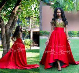 Discount African Ankara Dresses African Red High Low Prom Dresses 2016 Plus Sizes Unique Ankara Dress Tanzanian Ghana Women Evening Gowns Custom Made New Vestidos de Festa
