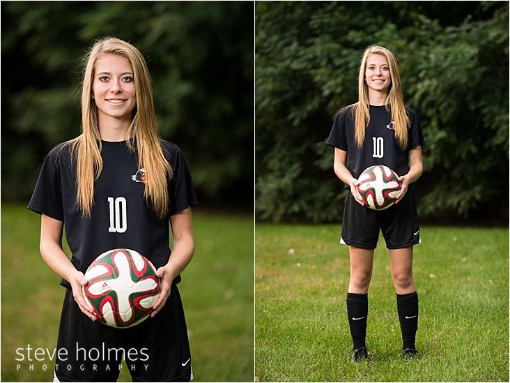 Teen poses with soccer ball for senior portrait. See more at http://www.steveholmesphotography.com/