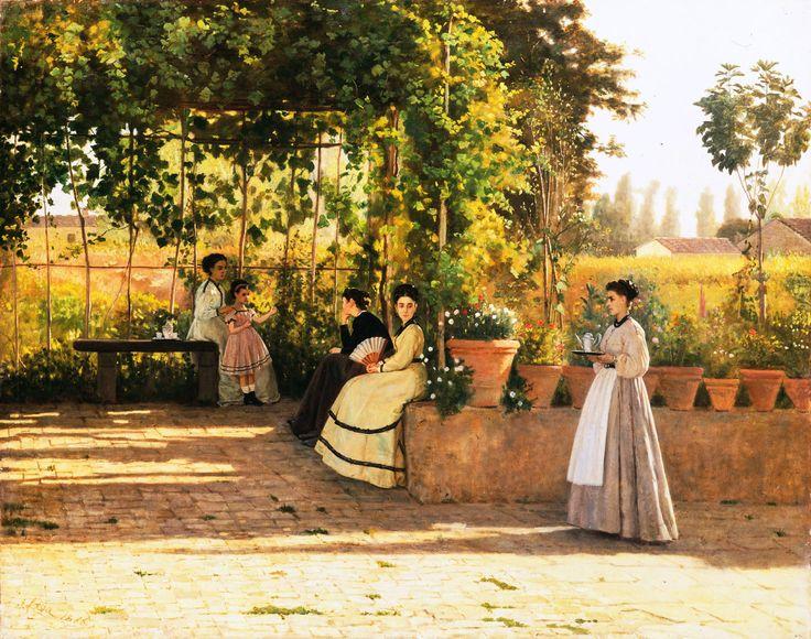 Silvestro Lega - Il pergolato, 1868. Large HD ★