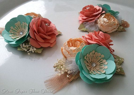 Handmade Paper Flowers - Corsage - Salmon - Sea Foam - Weddings - Bridal Shower - Baby Shower - Boutonniere - Made To Order