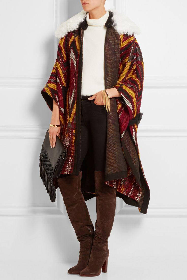 Chloé | Shearling-trimmed wool-blend jacquard cape | NET-A-PORTER.COM