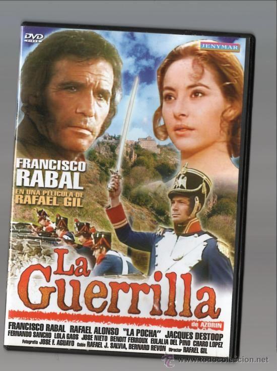 """http://mezquita.uco.es/record=b1883633~S6*spi """"La Guerrilla"""".  Adaptación del texto teatral homónimo de Azorín. En 1808, las tropas napoleónicas invaden un pueblo de la Sierra de Madrid. Trío amoroso entre una muchacha, un líder guerrillero y un oficial francés del que la chica se enamora."""