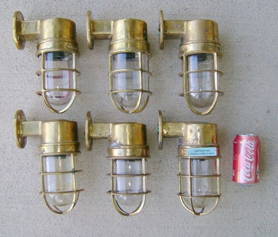 Our salvage and restoration crew has several hours of labor into this 6 piece set of solid cast brass nautical lights. Interior or exterior use! Rewired.