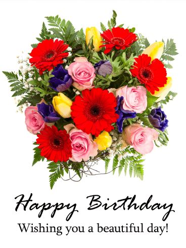 Gorgeous Flower Bouquet Happy Birthday Card