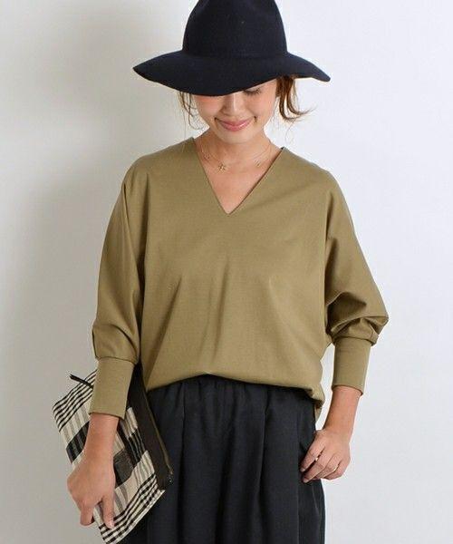 SHIPS for women dress(シップスフォーウィメンドレス)の《予約》コットンリヨセルドルマンスリーブプルオーバー◆(Tシャツ/カットソー)|オリーブ