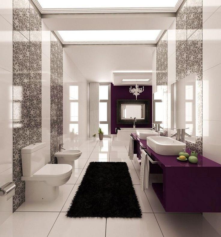inspiration salle de bain néo-baroque- meuble prune laqué et tapis shaggy noir