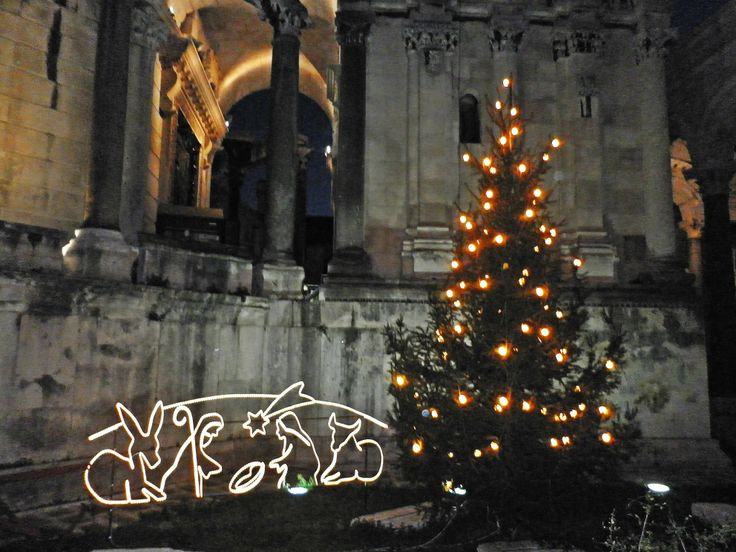 Peristil, the Diocletian`s palace at Christmas time