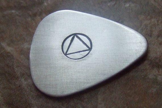 AA Symbol Guitar Pick Sobriety Gift Addiction by BraceletsbyLinda