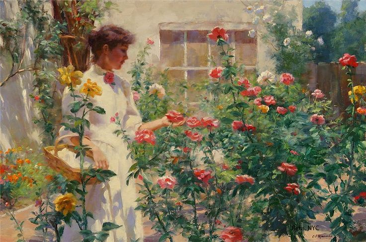 ⊰ Posing with Posies ⊱ paintings of women and flowers - Among the Roses, Charles Courtney Curran