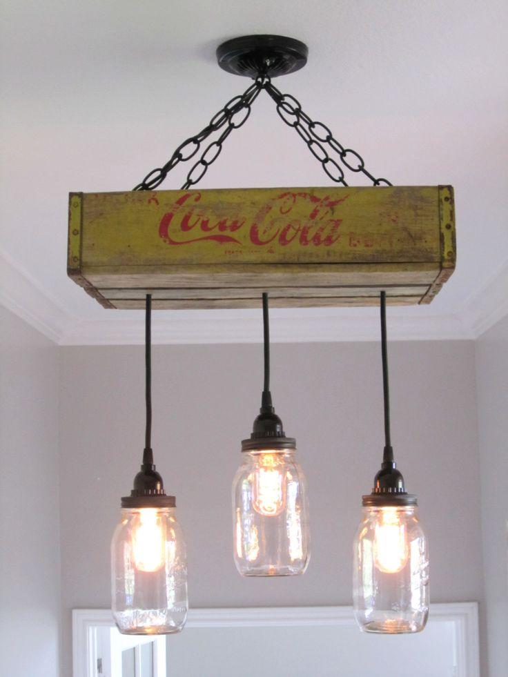 Coca Cola araña/plafón con iluminación tarro de masón tarros